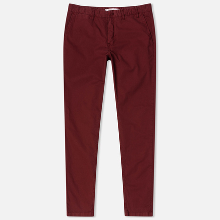 Norse Projects Aros Slim Light Twill Men's trousers Red Clay