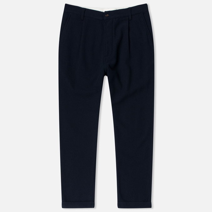 Universal Works Pleat Wool Twill Men's Trousers Navy