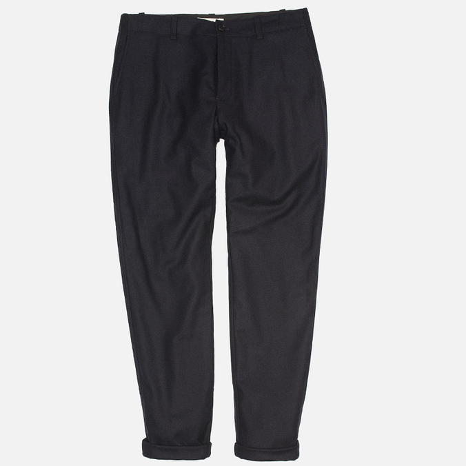 YMC Slim Fit Wool Flannel Men`s Trousers Navy