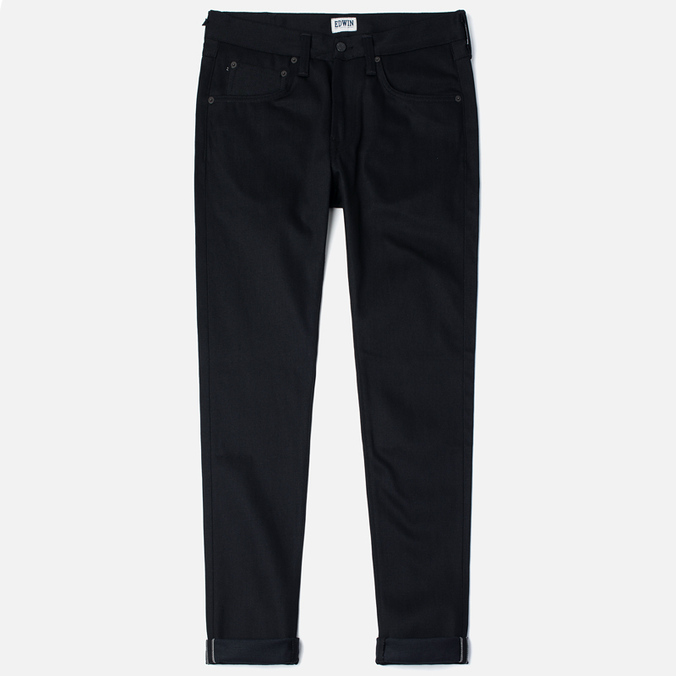 Мужские джинсы Edwin ED-55 Relaxed Tapered White Listed Black Selvedge 13 Oz Black
