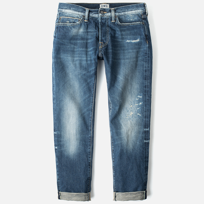 Мужские джинсы Edwin ED-75 Mid Rise Tapered 63 Rainbow Selvage HR-7 Blue