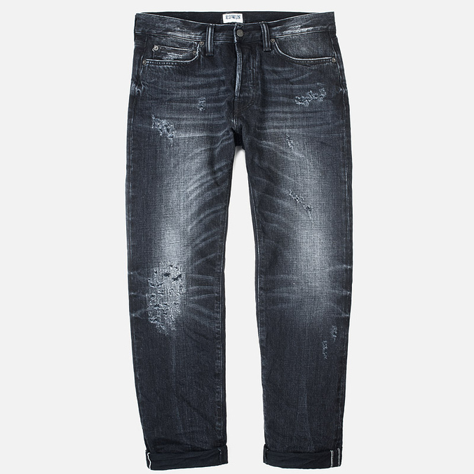 Мужские джинсы Edwin ED-75 Mid Rise Tapered White Listed Selvage HR-9 Black