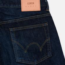 Мужские джинсы Edwin Regular Tapered Nihon Menpu Rainbow Selvage 13.5 Oz Blue Dark Used фото- 4