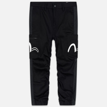 Мужские джинсы Evisu Side Panelled Cargo Jogger Fit Seagull Pockets Black фото- 0