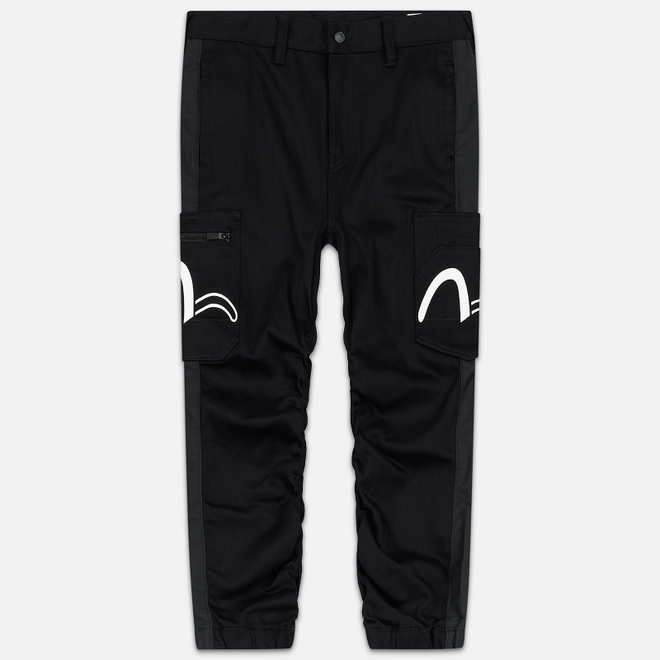 Мужские джинсы Evisu Side Panelled Cargo Jogger Fit Seagull Pockets Black