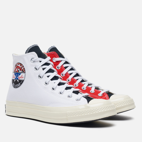 Мужские кеды Converse Chuck 70 High Logo Play White/University Red/Rush Blue