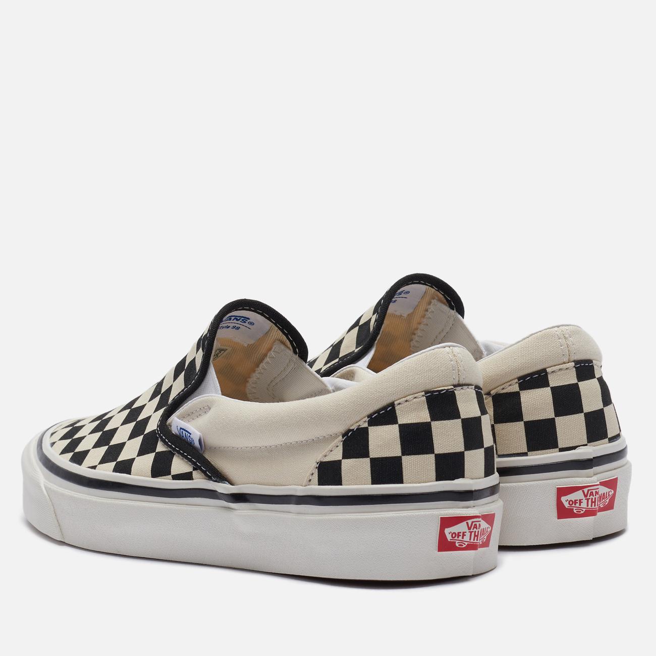 Мужские кеды Vans Classic Slip-On 98 DX Anaheim Factory Checkerboard/Black/White