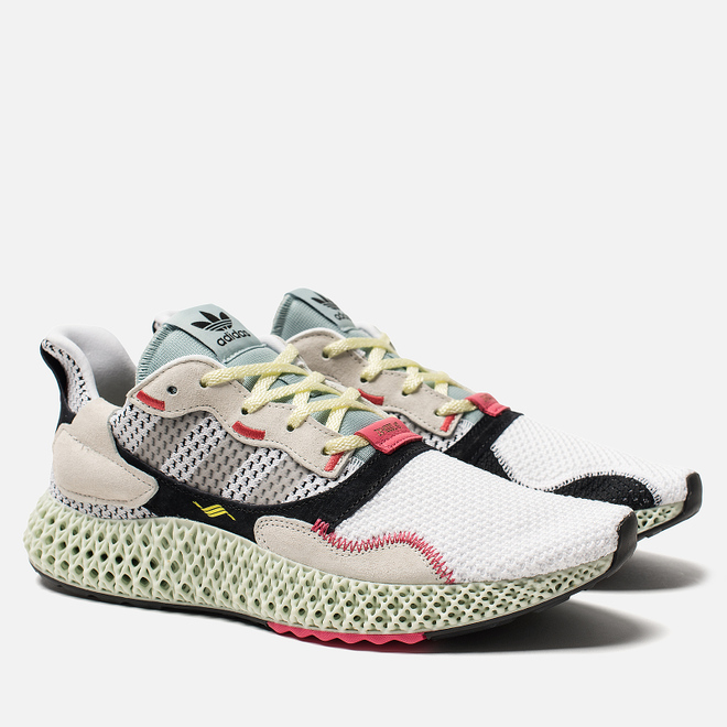 Мужские кроссовки adidas Consortium ZX 4000 4D White/Grey Two/Linen Green