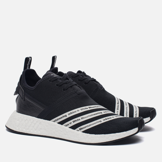Мужские кроссовки adidas Originals x White Mountaineering NMD R2 Primeknit Core Black/White