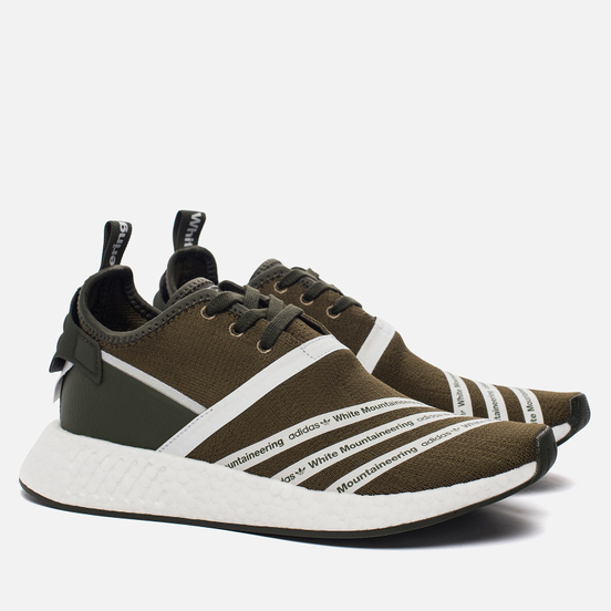 Мужские кроссовки adidas Originals x White Mountaineering NMD R2 Primeknit Trace Olvie/White