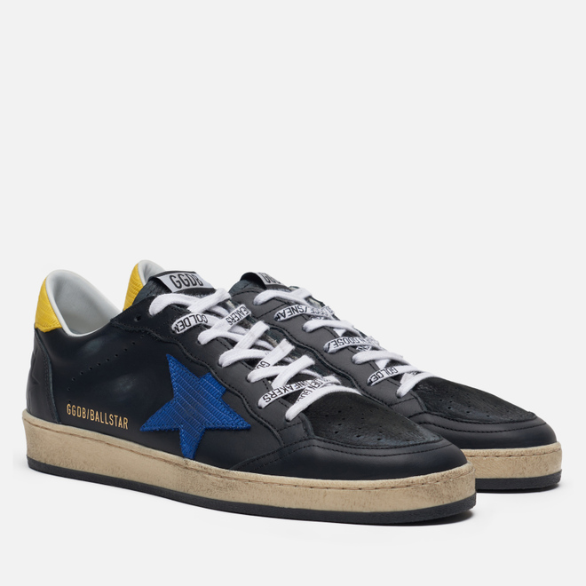 Мужские кроссовки Golden Goose Ball Star Black Leather/Blue Lizard Star