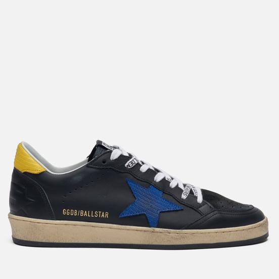 Мужские кроссовки Golden Goose Ball Star Black Leather/Blue Lizard Star