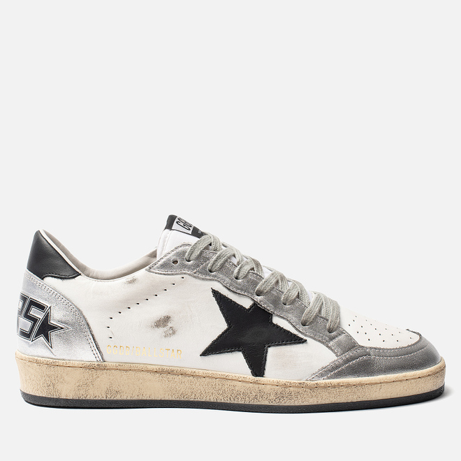 Мужские кроссовки Golden Goose Ball Star White Silver/Black Star