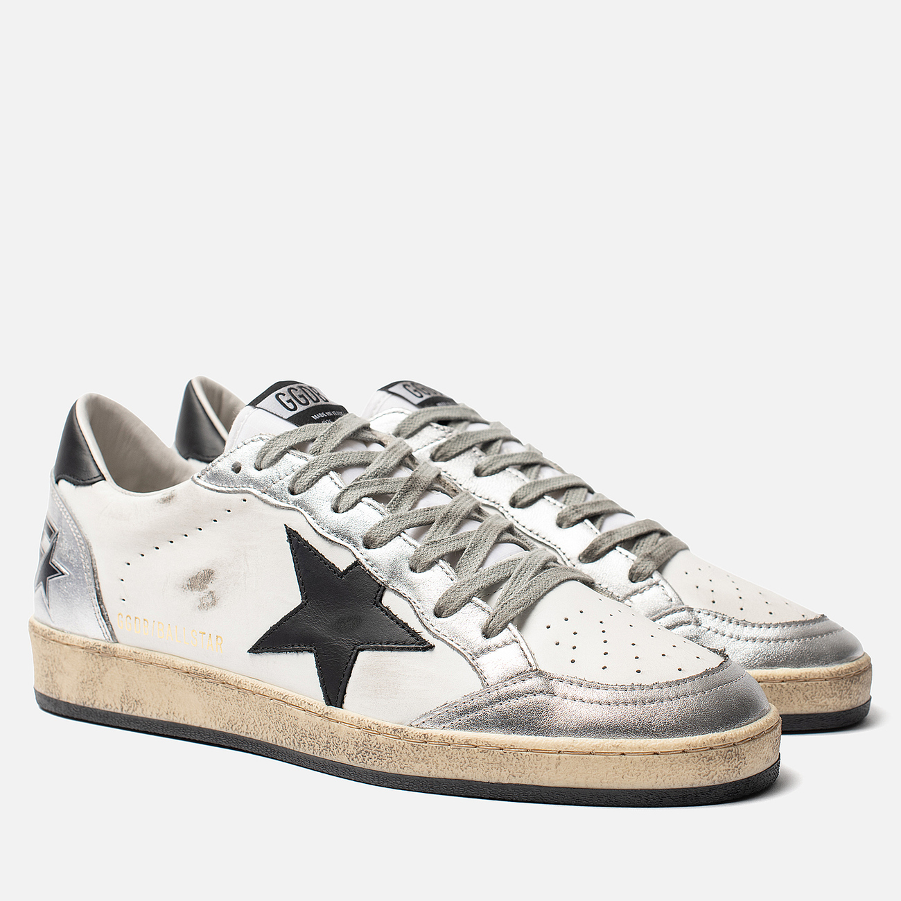 Мужские кроссовки Golden Goose Ball Star White Silver/Black Star