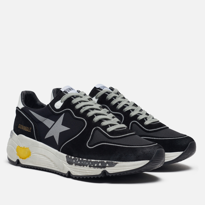 Мужские кроссовки Golden Goose Running Sole Black Lycra/Silver Star