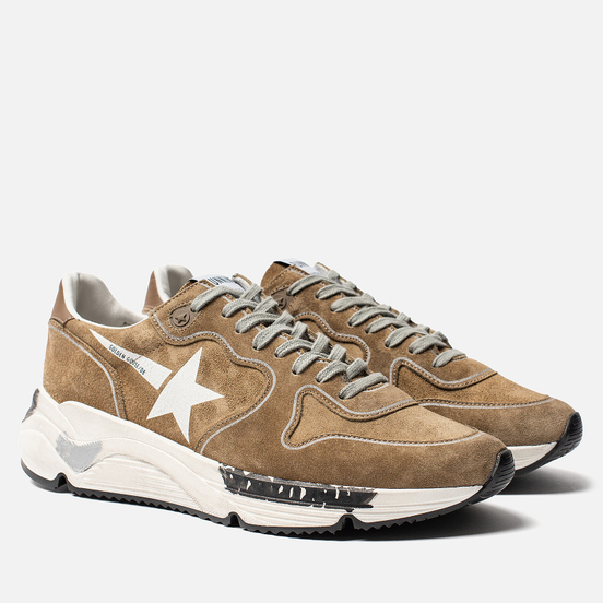 Мужские кроссовки Golden Goose Running Sole Tabac Suede/White Star