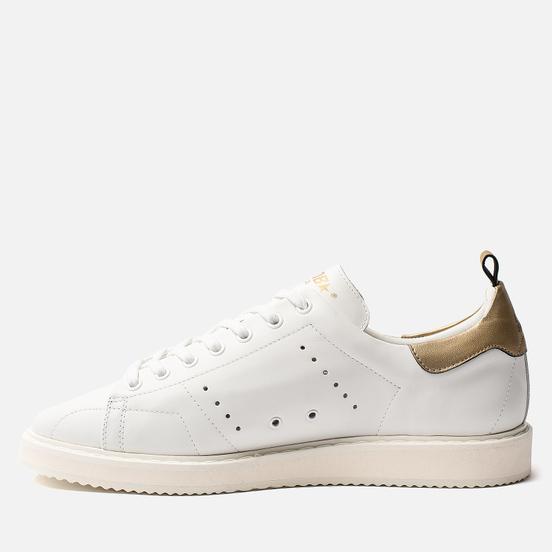 Мужские кроссовки Golden Goose Starter White Leather/Gold Laminated