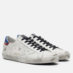 Мужские кроссовки Golden Goose Superstar White/Blue/Red Leather/White Star