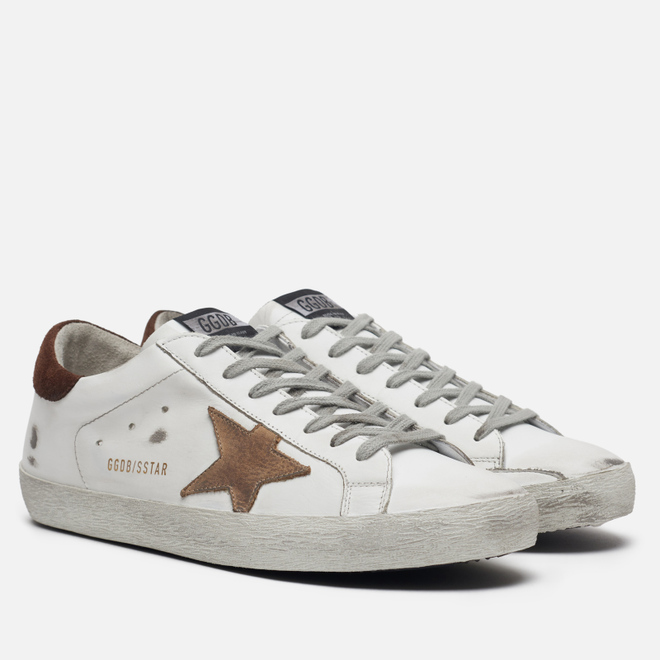 Мужские кроссовки Golden Goose Superstar White Leather/Incense Nabuck Star
