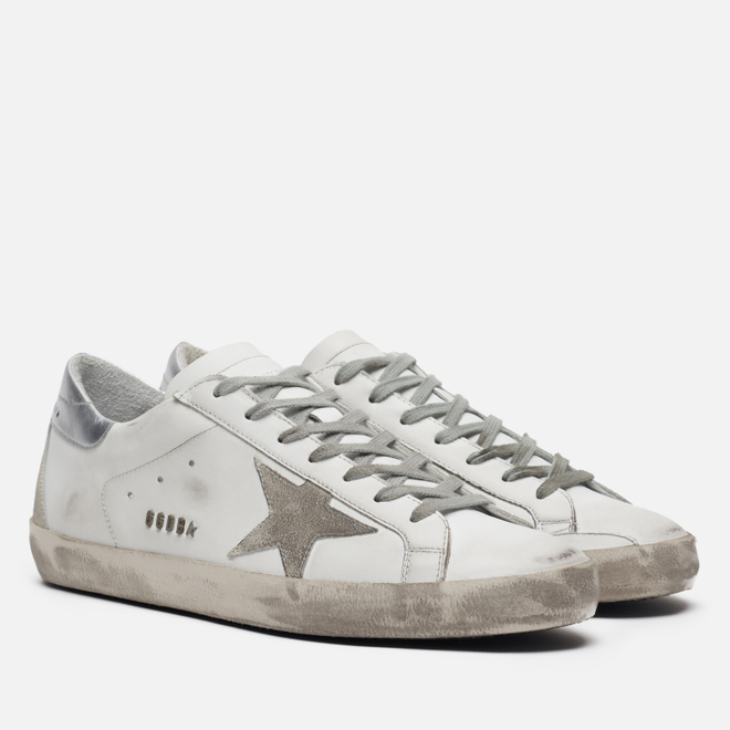 Мужские кроссовки Golden Goose Superstar White/Silver Metal Lettering