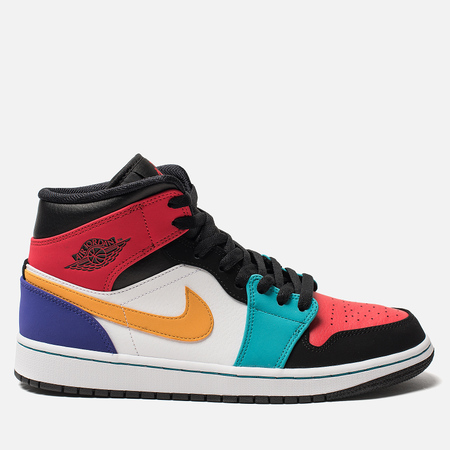 Мужские кроссовки Jordan Air Jordan 1 Mid White University Red Black Turbo  Green d04a93e2a27
