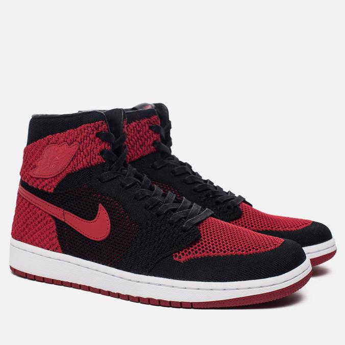 bdf3a778 JordanМужские кроссовки Air Jordan 1 Retro High Flyknit Black/Campus  Red/White