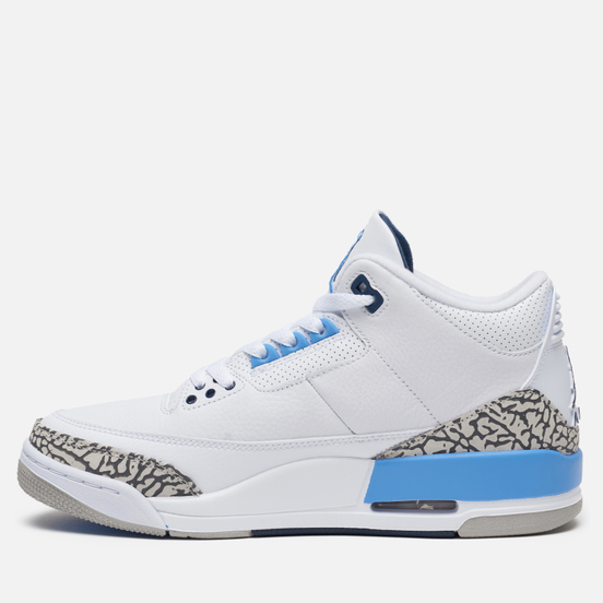 Мужские кроссовки Jordan Air Jordan 3 Retro UNC White/Valor Blue/Tech Grey