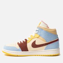 Мужские кроссовки Jordan x Maison Chateau Rouge Air Jordan 1 Mid SE Fearless Pale Vanilla/Cinnamon/Psychic Blue фото- 5