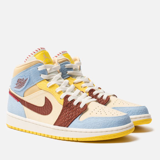 Мужские кроссовки Jordan x Maison Chateau Rouge Air Jordan 1 Mid SE Fearless Pale Vanilla/Cinnamon/Psychic Blue