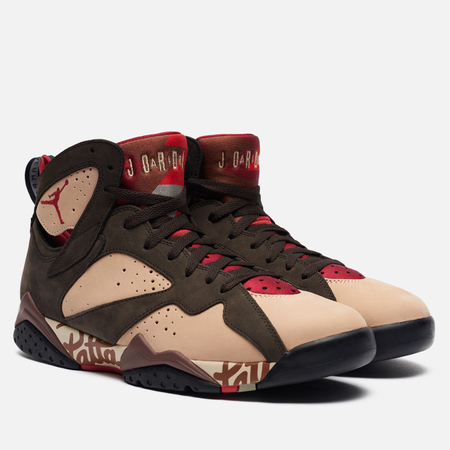 Мужские кроссовки Jordan x Patta Air Jordan 7 Retro Shimmer/Tough Red/Velvet Brown