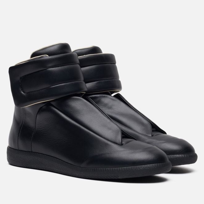 Мужские кроссовки Maison Margiela Future Leather Top High Black/Black