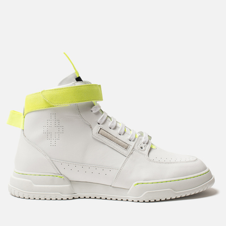 Мужские кроссовки Marcelo Burlon County Nis High White/Fluo Yellow