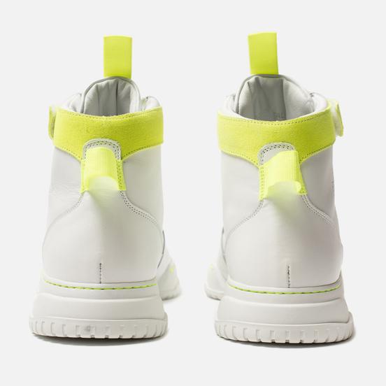 Мужские кроссовки Marcelo Burlon County Nis High White/Fluo Yellow