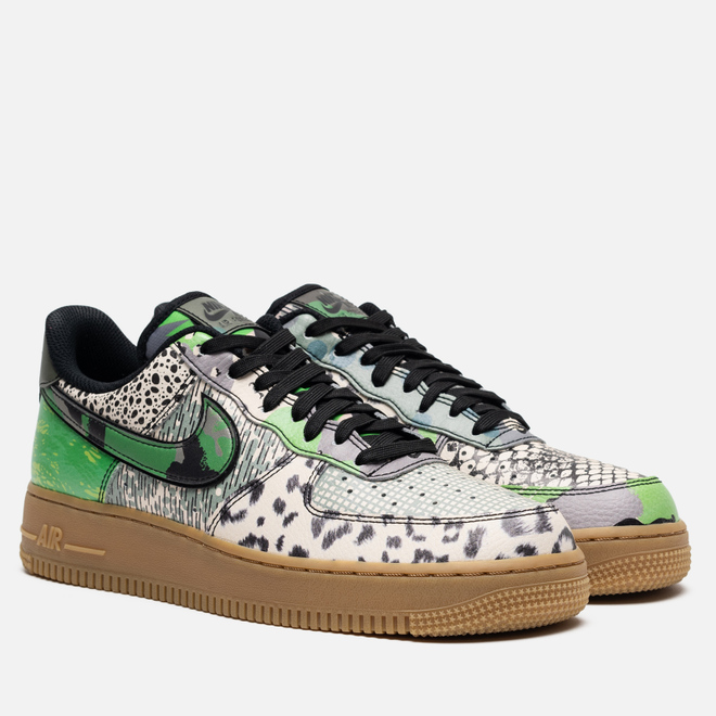 Мужские кроссовки Nike Air Force 1 07 QS Black/Black/Green Spark/Gum Light Brown