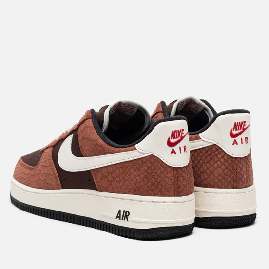 Кроссовки Nike Air Force 1 Low PRM Snakeskin Red Bark/Sail/Earth/University Red