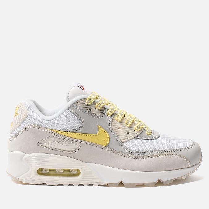Мужские кроссовки Nike Air Max 90 Premium White/Lemon Frost/Light Bone