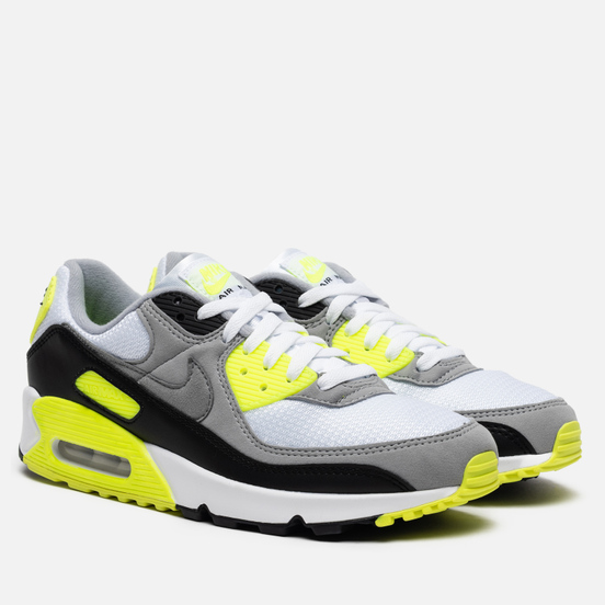Мужские кроссовки Nike Air Max 90 White/Particle Grey/Volt/Black