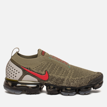 Мужские кроссовки Nike Air Vapormax Flyknit Moc 2 Neutral Olive/Dark Hazel/Clear Emerald/Habanero Red