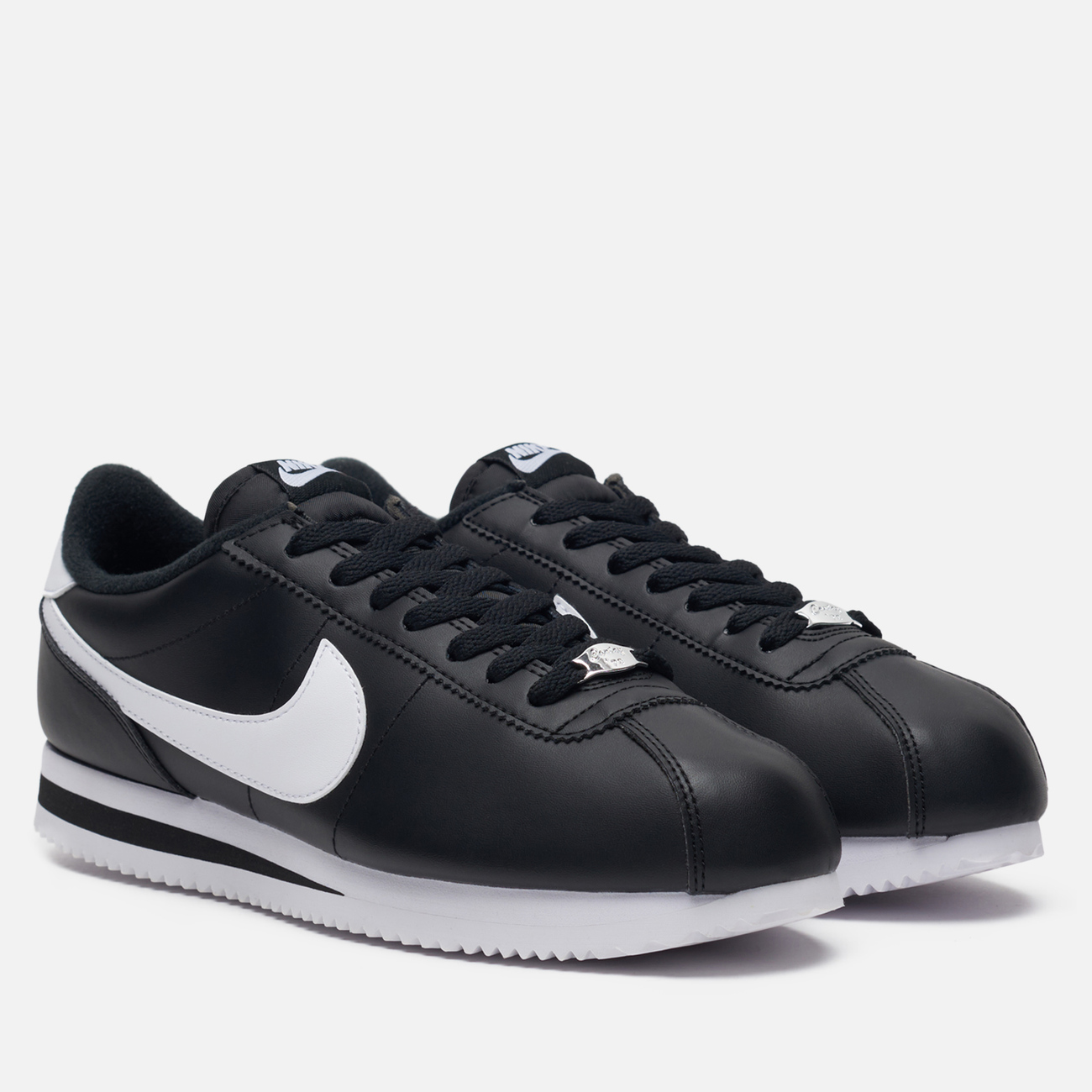 Мужские кроссовки Nike Cortez Basic Leather Black/White/Metallic Silver
