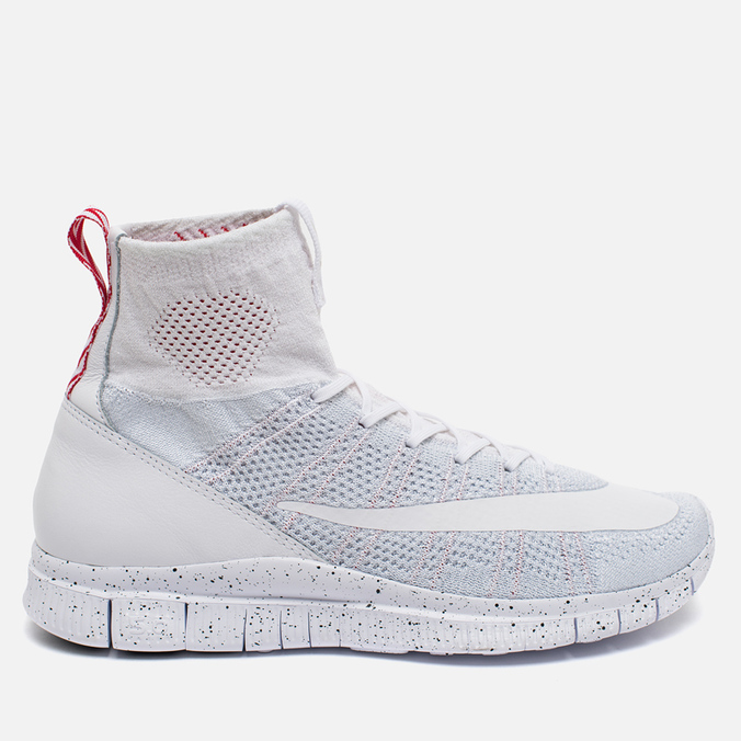 Мужские кроссовки Nike Free Flyknit Mercurial White/Pure Platiinum/University Red