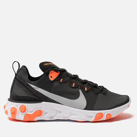 Мужские кроссовки Nike React Element 55 Black Wolf Grey Total Orange White e9802b4102f