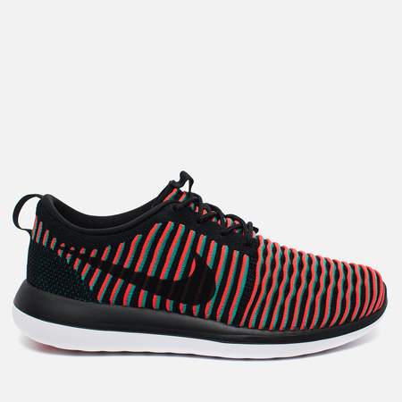 Nike Roshe Two Flyknit Men's Sneakers Black/Bright Crimson/Clear Jade