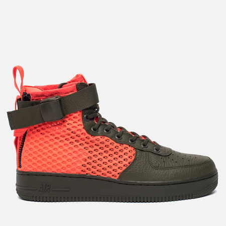 Мужские кроссовки Nike Special Field Air Force 1 Mid QS Cargo Khaki/Total Crimson