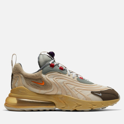 Мужские кроссовки Nike x Travis Scott Air Max 270 React ENG Cactus Trails Light Cream/Starfish/Dark Hazel