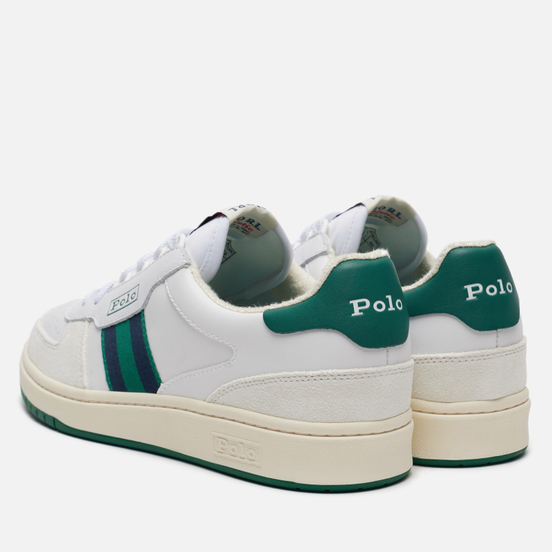 Мужские кроссовки Polo Ralph Lauren Polo Court Synthetics Leather/Suede White/Kelly Green/Newport Navy