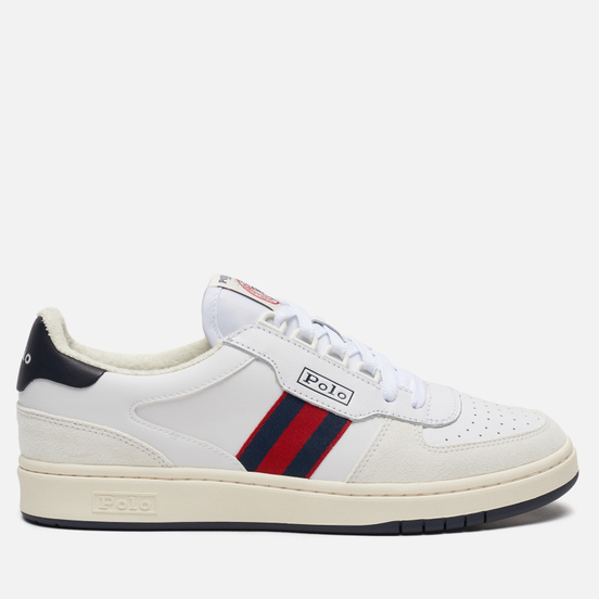 Мужские кроссовки Polo Ralph Lauren Polo Court Synthetics Leather/Suede White/Newport Navy/Red