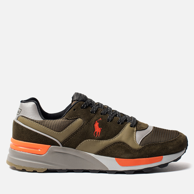 Мужские кроссовки Polo Ralph Lauren Trackster 100 Pony Suede/Mesh Deep Olive/Basketball Orange