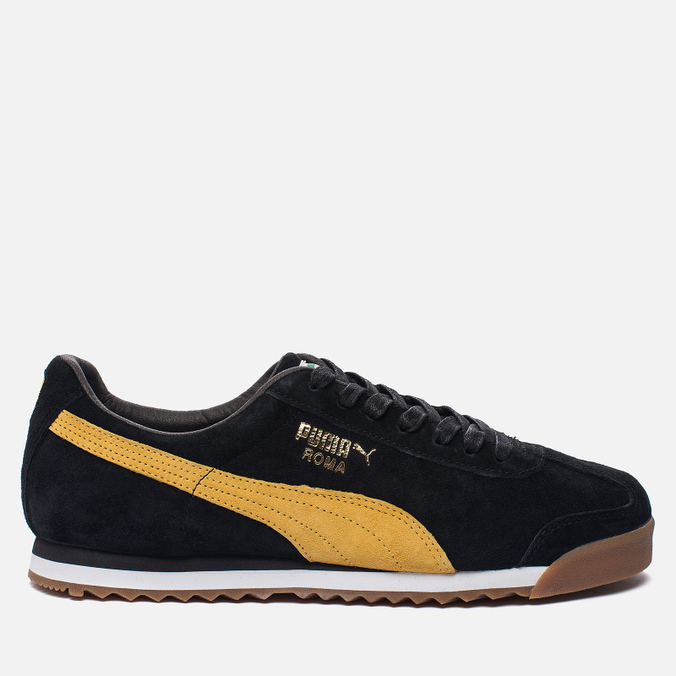 Мужские кроссовки Puma Roma Gents Black/Spectra Yellow/White/Gold