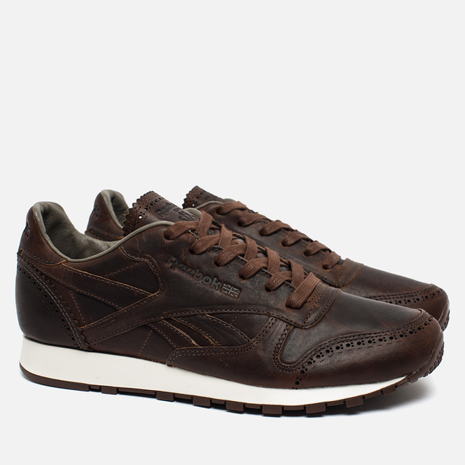 64b2744ed328e ... Мужские кроссовки Reebok Classic Leather Lux Horween Just Brown Golden  Brown  Chalk ...