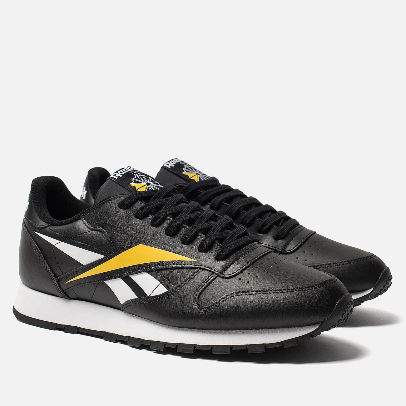 Мужские кроссовки Reebok Classic Leather Vector Black/White/Toxic Yellow